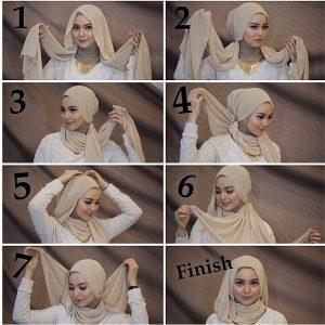 tutorial hijab pesta segi empat